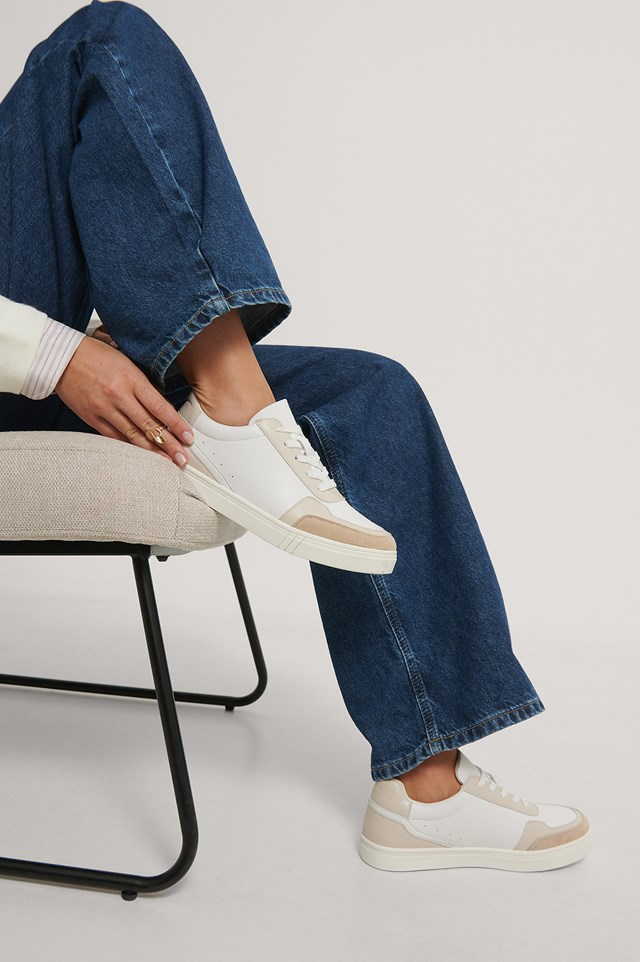Faux Suede Court Trainers White