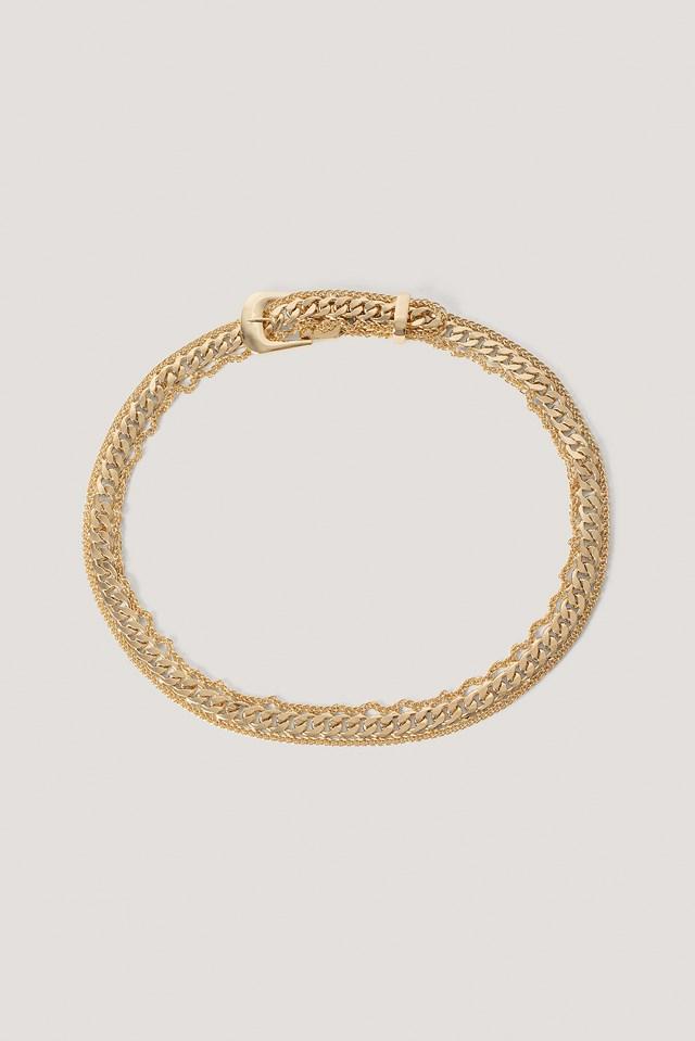 Gold Fine Frame Chain Buckle Belt