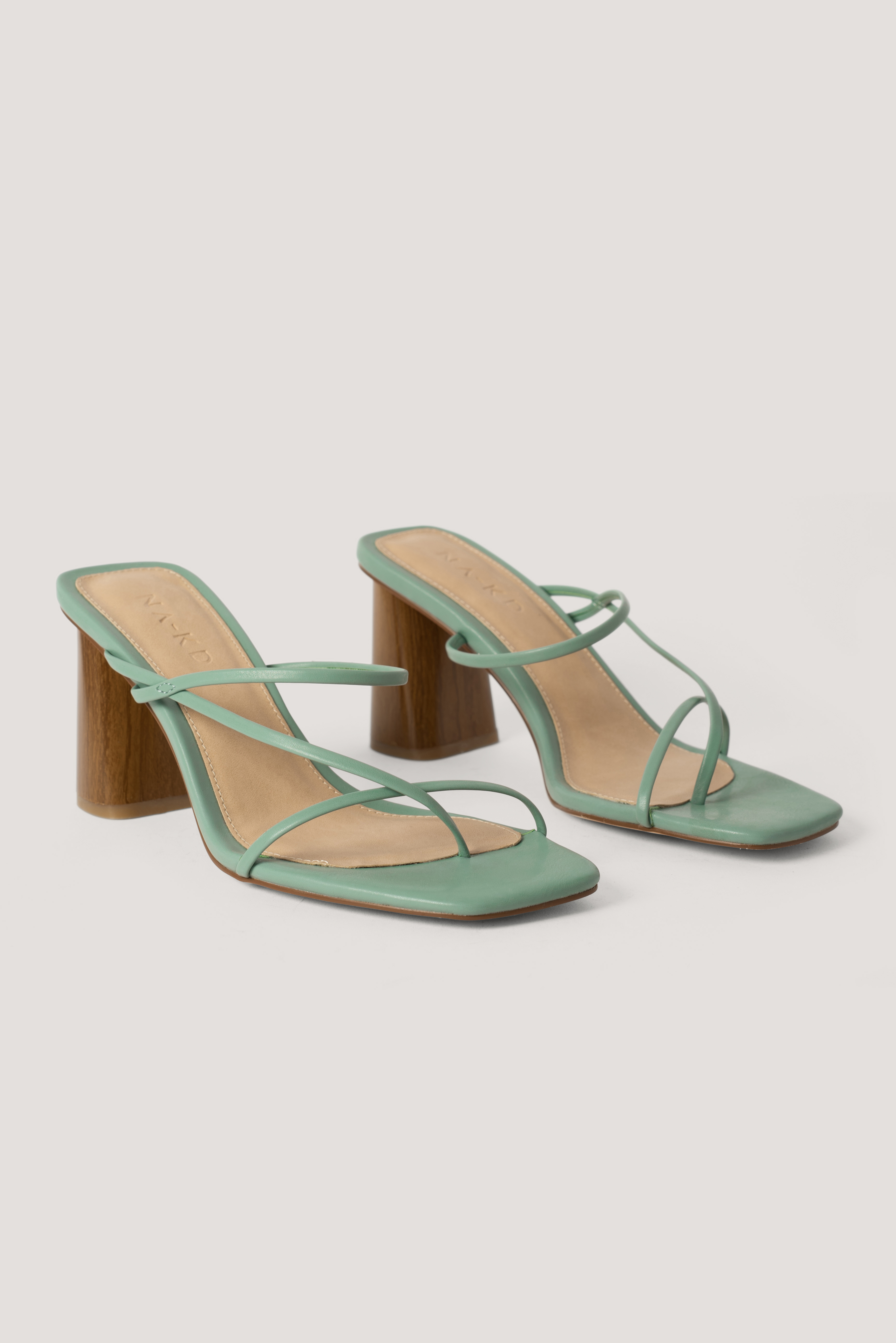 Pastel Green Fine Strappy Block Heel Sandals
