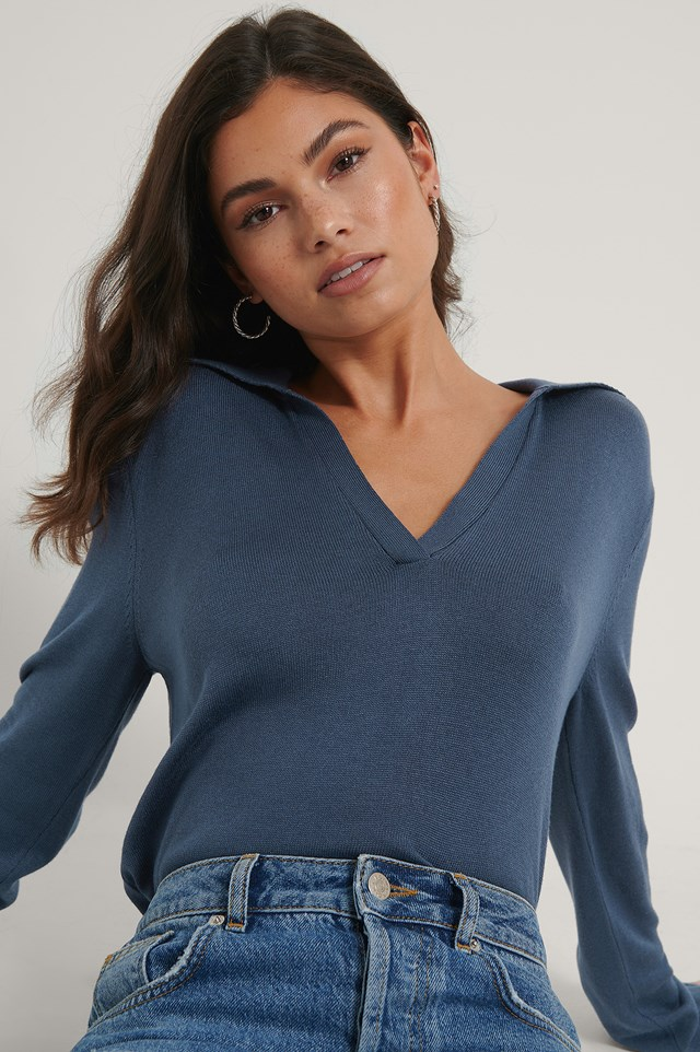 Loose Fit Collar Knitted sweater Dark Blue