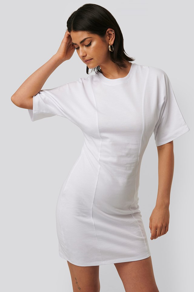 Fitted T-shirt Dress White