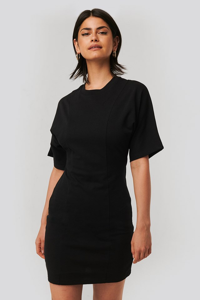 Fitted T-shirt Dress Black