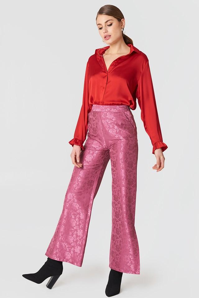 Flared Flower Jacquard Pants Purple Rose
