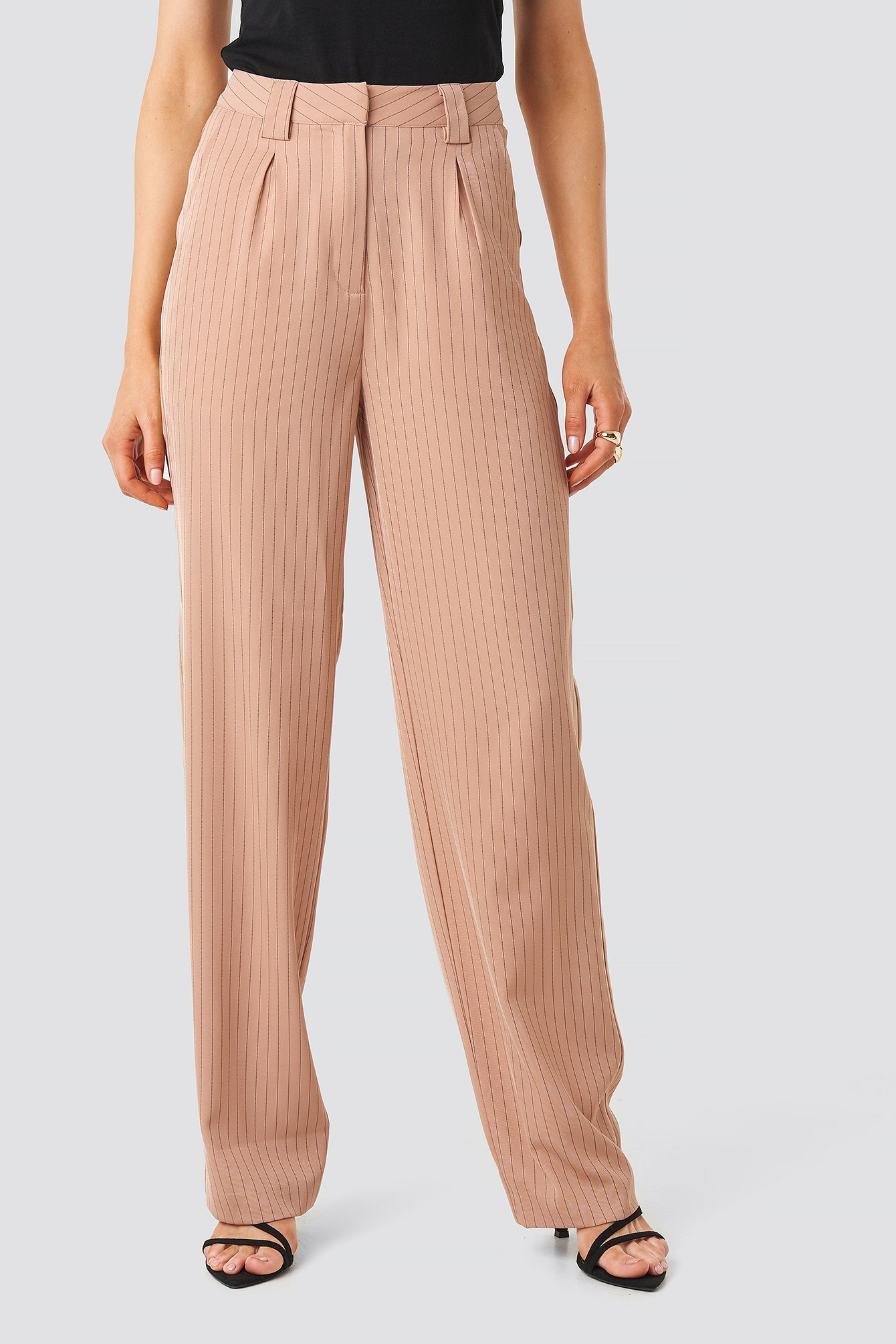 Dusty Pink Flared Striped Pants