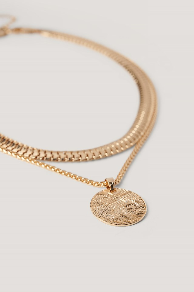 Flat Chain Coin Necklace Gold