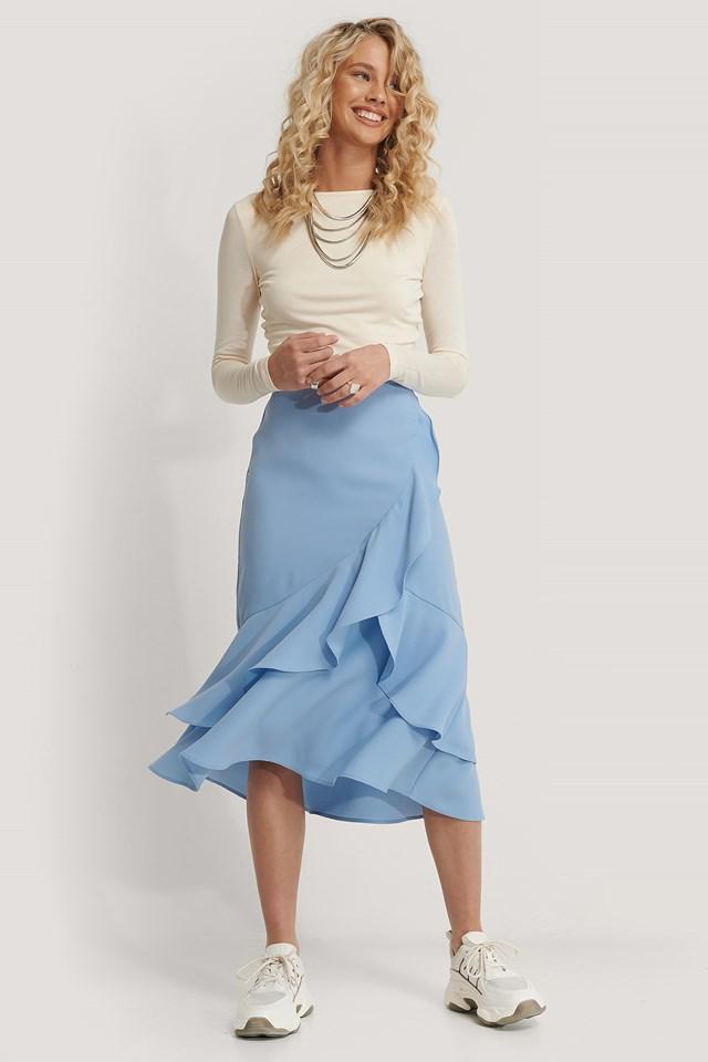 Flounce Midi Skirt Pastel Blue