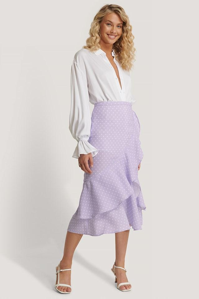 Flounce Midi Skirt Pastel Lilac