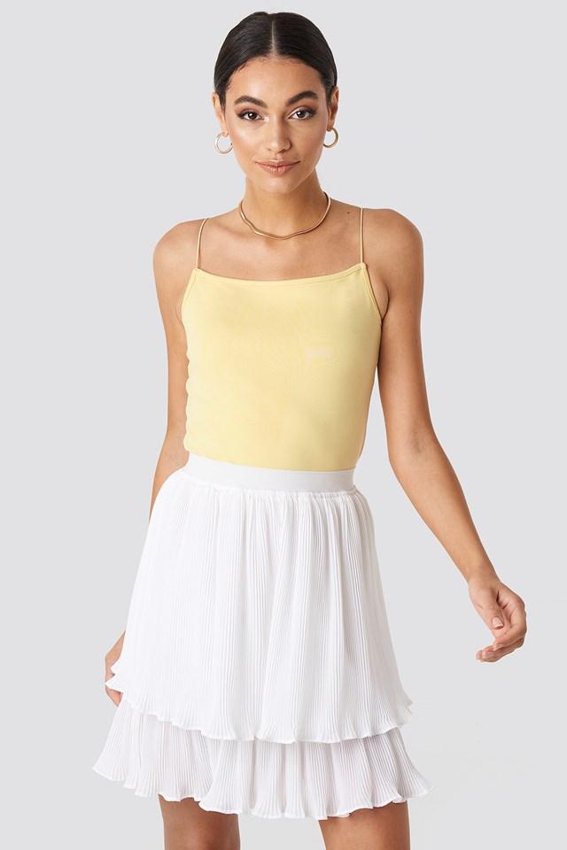 Flounce Mini Pleated Skirt White