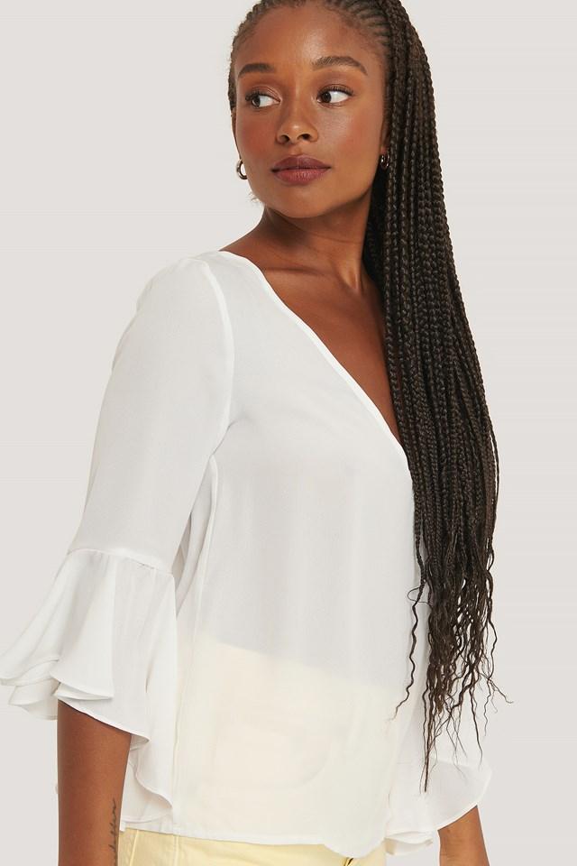 Flounced Sleeve V-Neck Blouse White