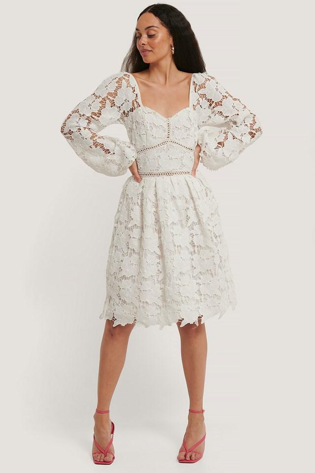 Flower Crochet Dress White