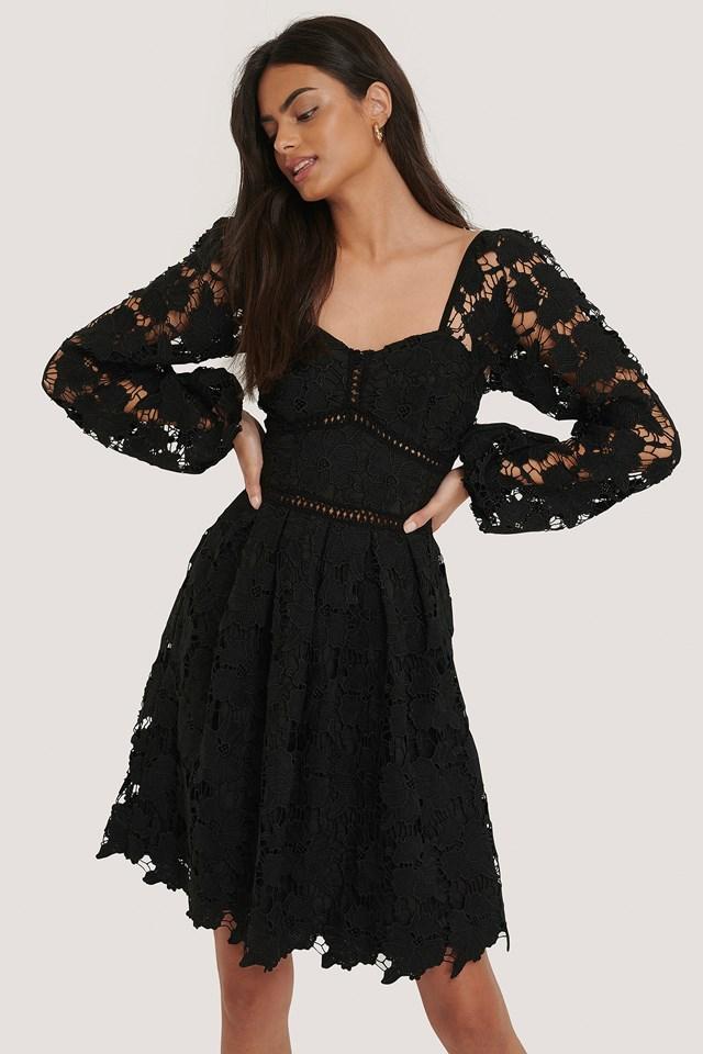 Flower Crochet Dress Black