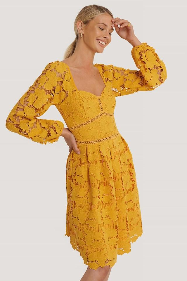 Flower Crochet Dress Citrus