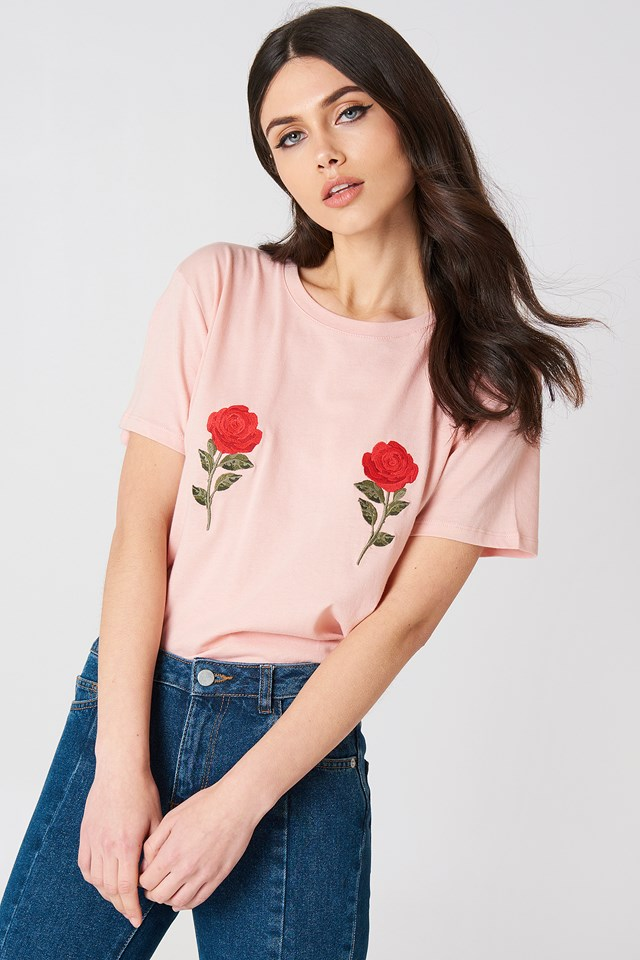Flower Embroidery Tee Pink
