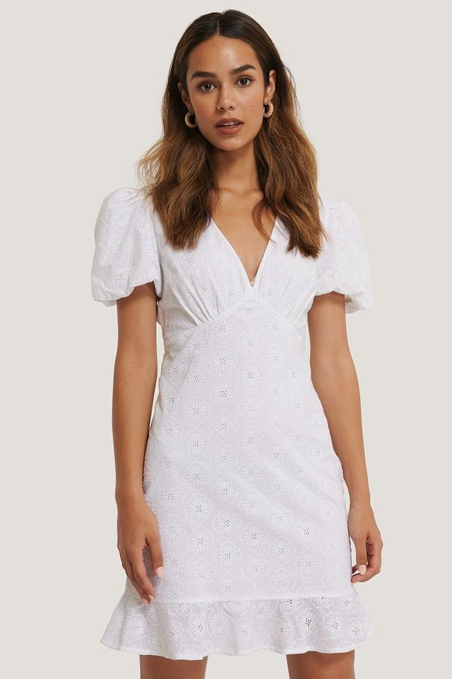 Flower Embroidery V-Neck Mini Dress White