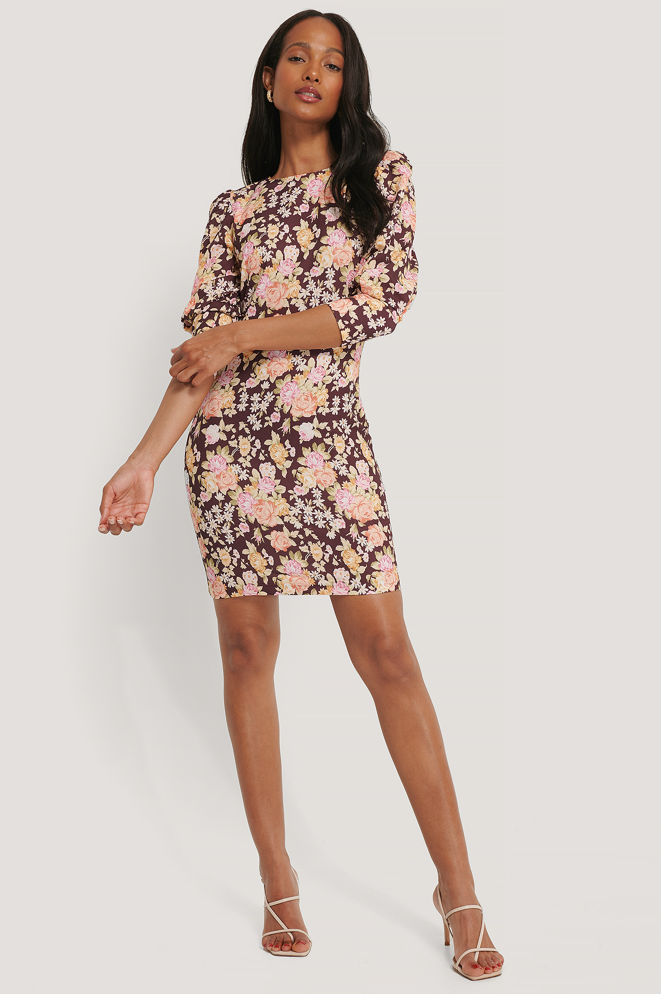 Multicolor Flower Pattern Mini Dress