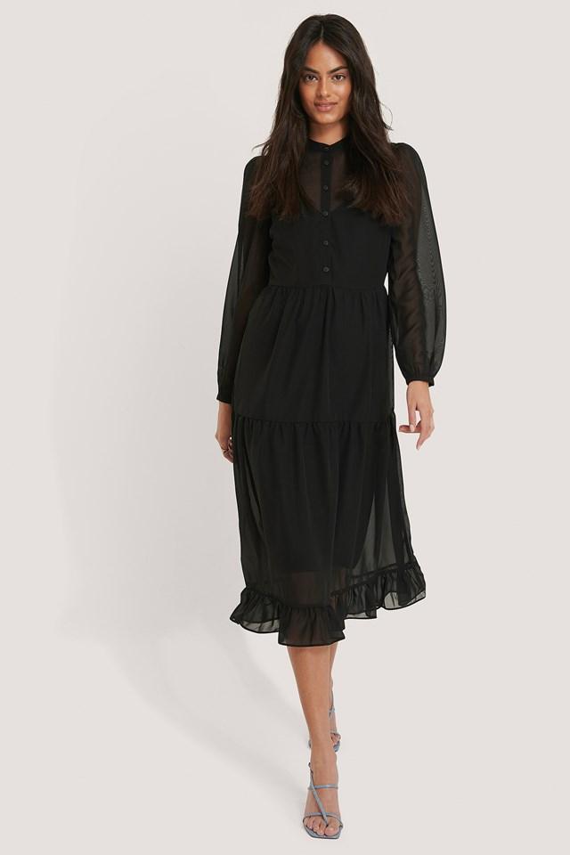 Black Flower Print Tiered Midi Dress