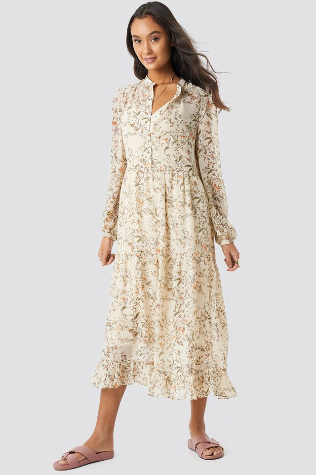 Cream Flower Print Tiered Midi Dress