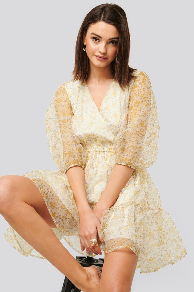 Flower Printed Organza Mini Dress Yellow Flower