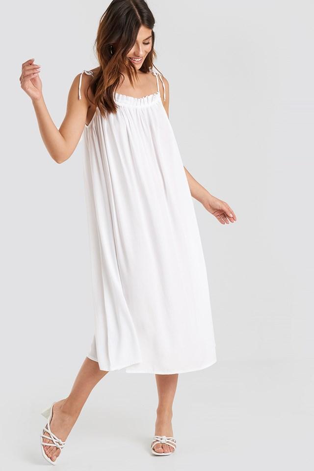 Flowing Straight Neck Midi Dress White