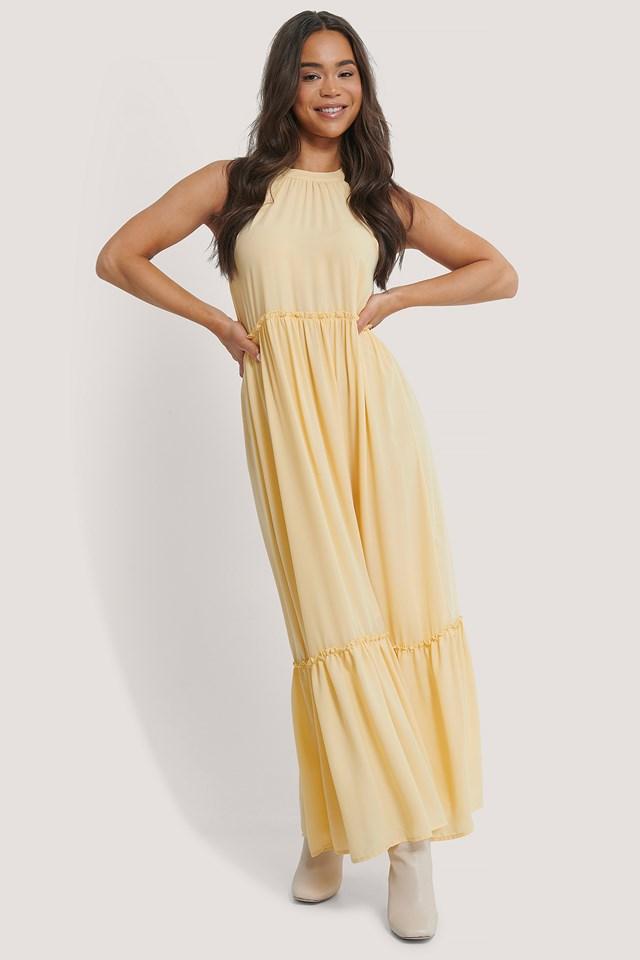Flowy Frill Maxi Dress Light Yellow