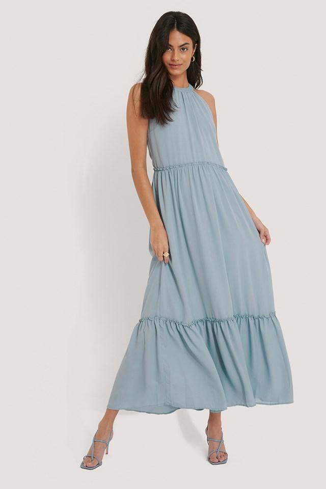 Flowy Frill Maxi Dress Dusty Blue