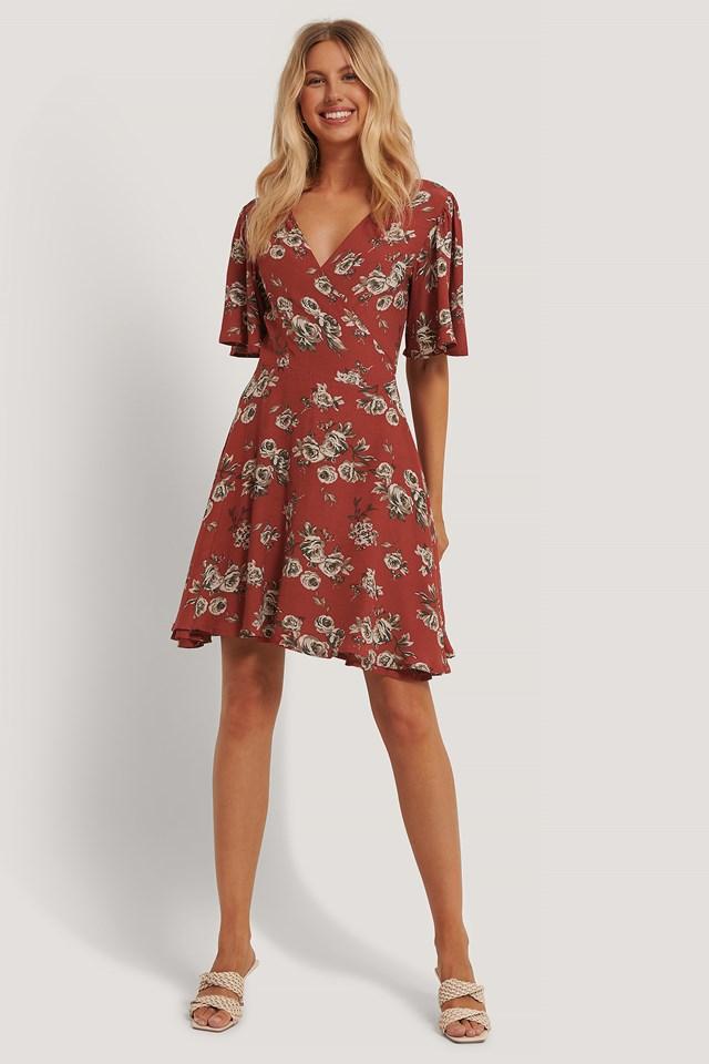 Red Flower Flowy V-Neck Dress