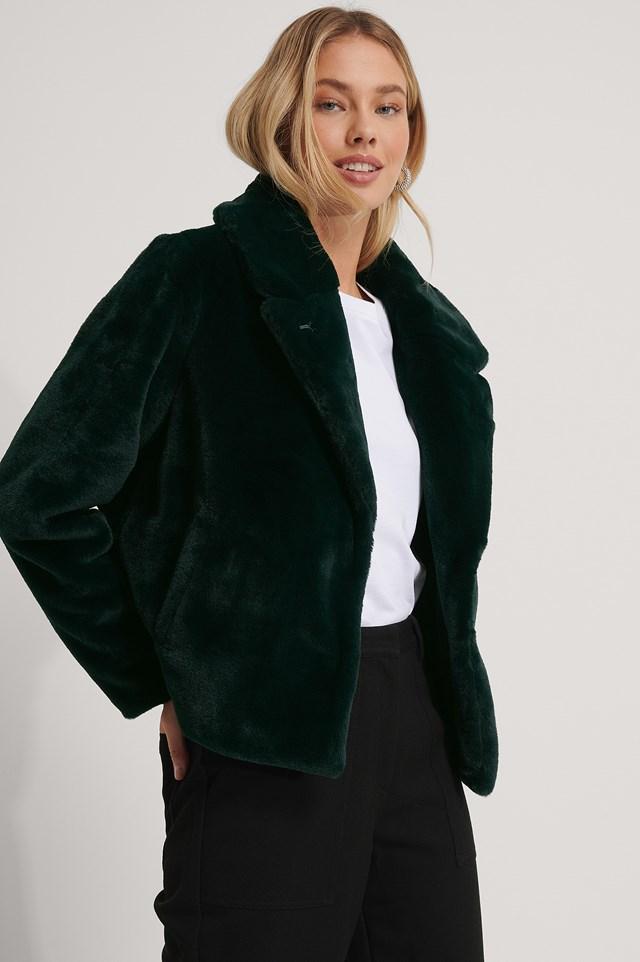 Fluffy Faux Fur Jacket Dark Green