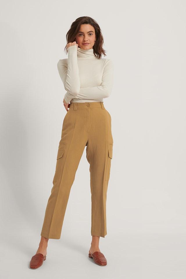 Rust Fluid Linen-Blend Cargo Pants
