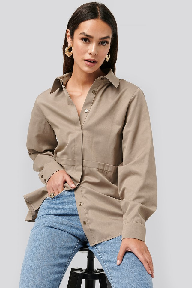 Fold Front Shirt Taupe