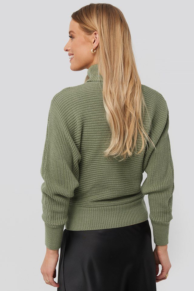 Folded Knitted Sweater Light Khaki