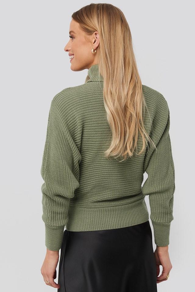 Podwijany Sweter Z Dzianiny Light Khaki