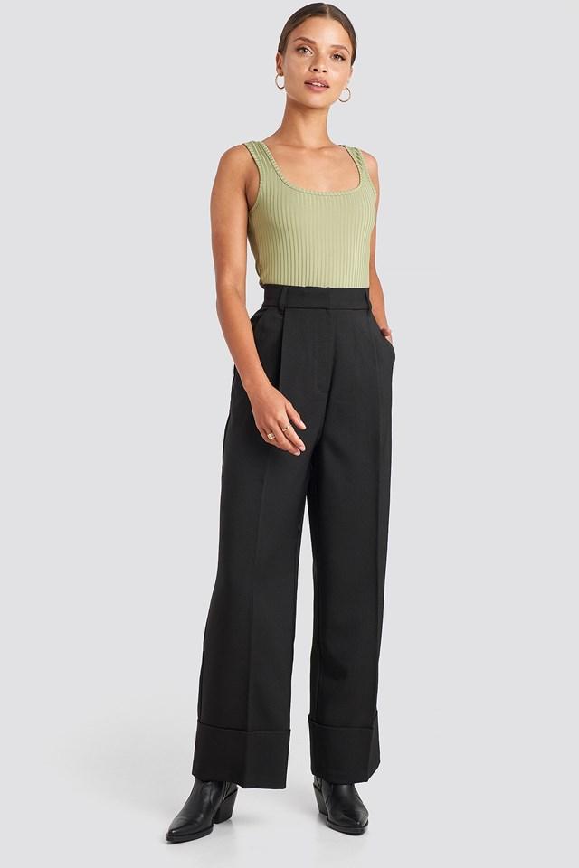 Black Folded Pants
