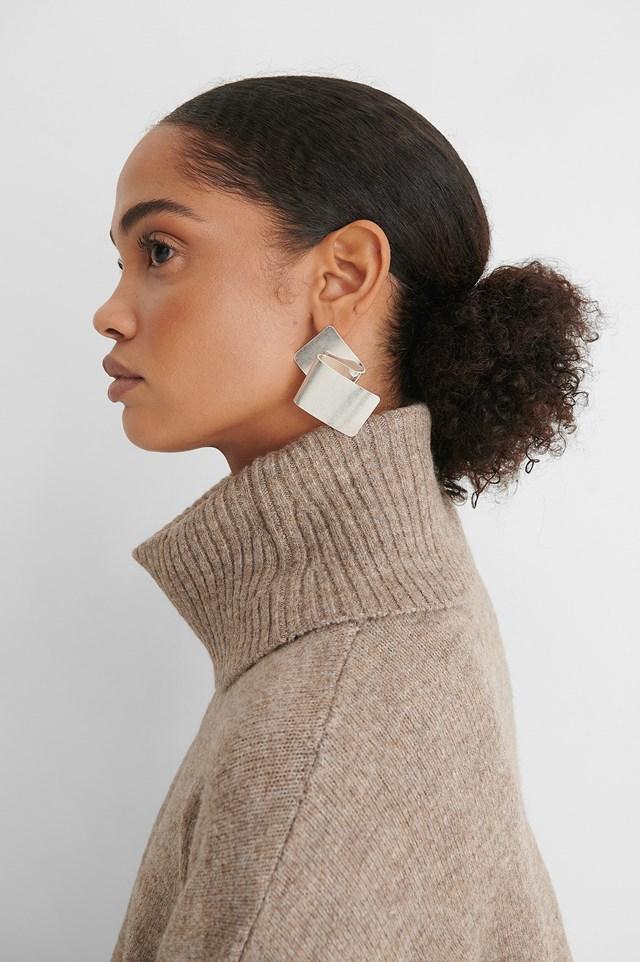 Silver Folded Plate Earrings