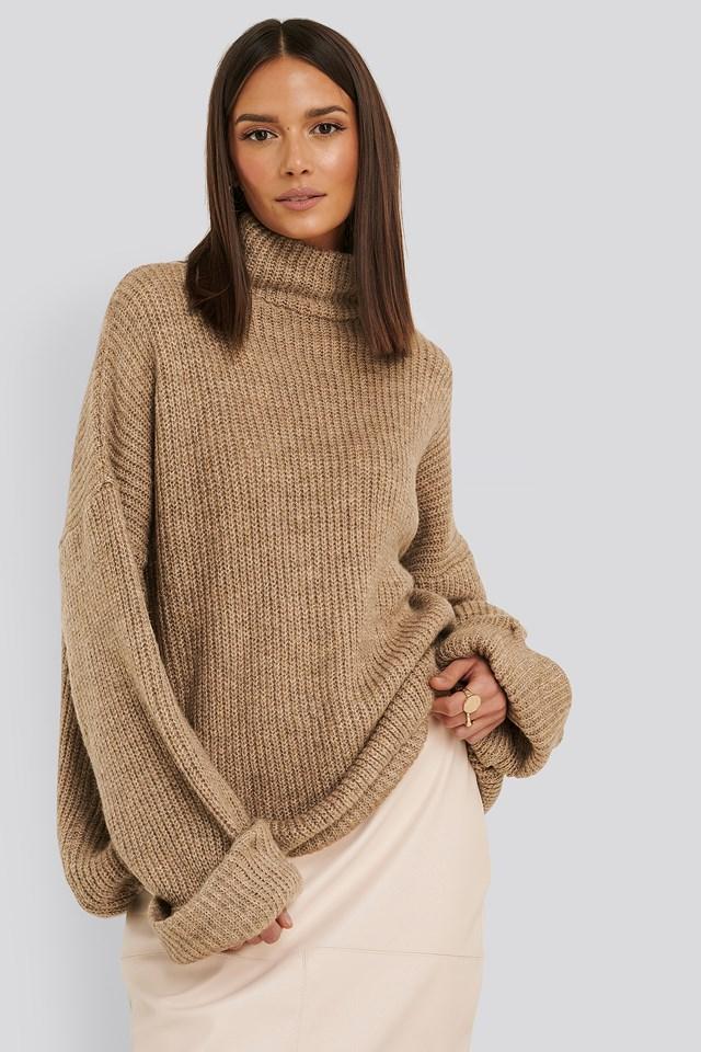 Folded Sleeve Turtle Neck Knitted Sweater Beige