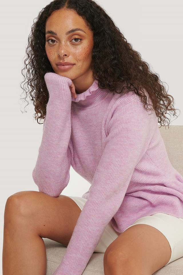 Purple Frill Detailed Knitted Sweater