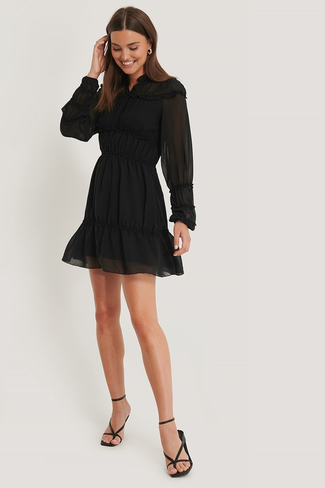 Black Frill Detail LS Mini Dress