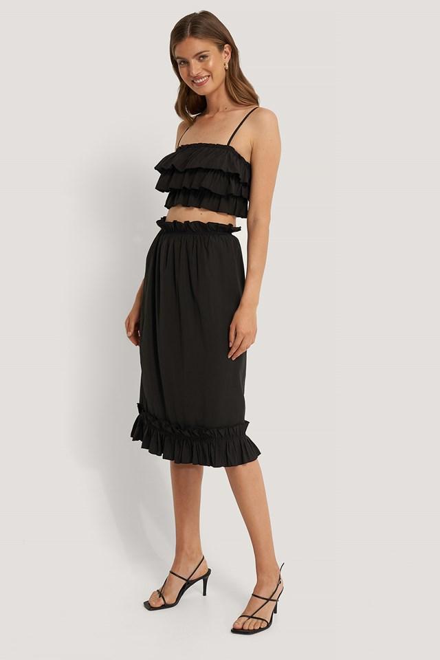 Frill Detail Skirt Black