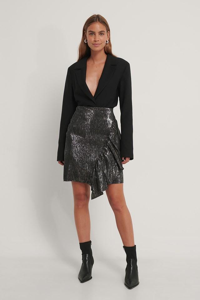 Frill Glittery Skirt Silver
