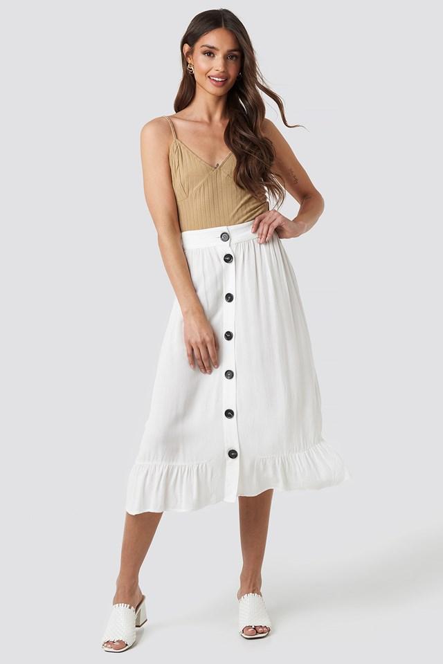 Frill Hem Front Button Skirt Beige