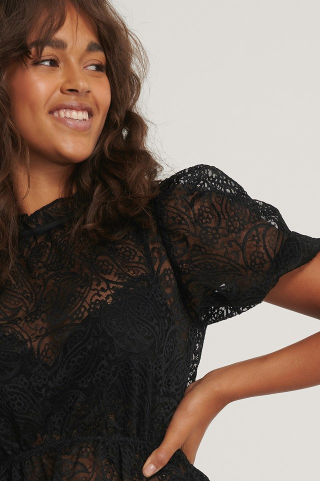 Frill Neck Lace Top Black