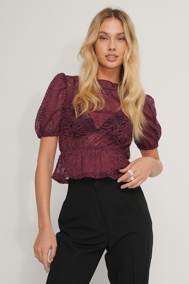 Frill Neck Lace Top Burgundy