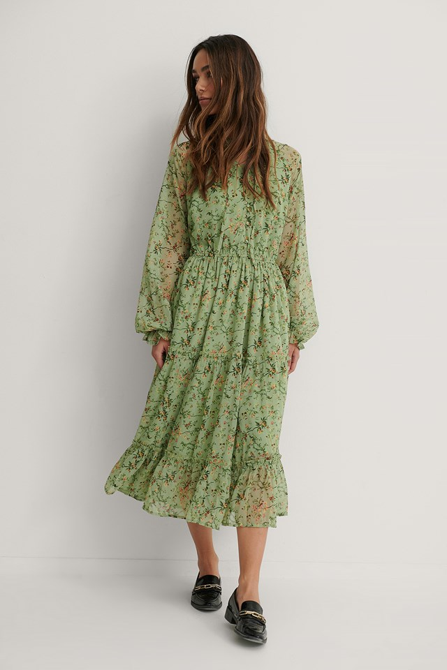 Green Flower Frill Neck Midi Dress