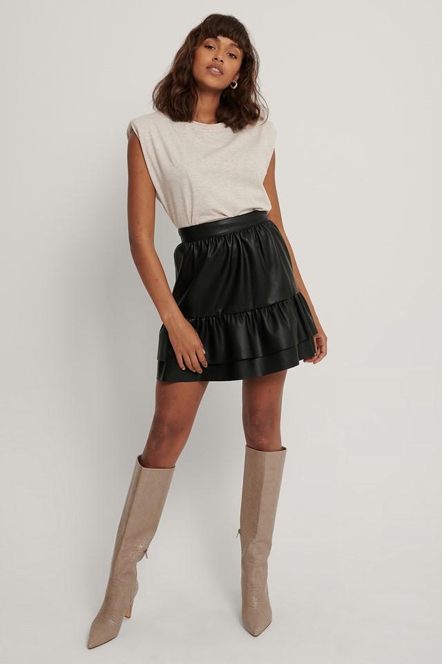 Black Frill PU Skirt