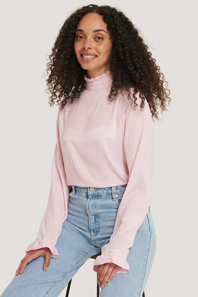 Pink Frill Sleeve Elastic Collar Blouse