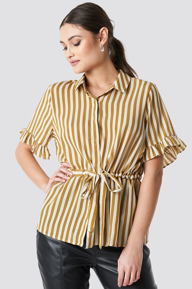 Frill Sleeve Tie Waist Top Mustard Stripe