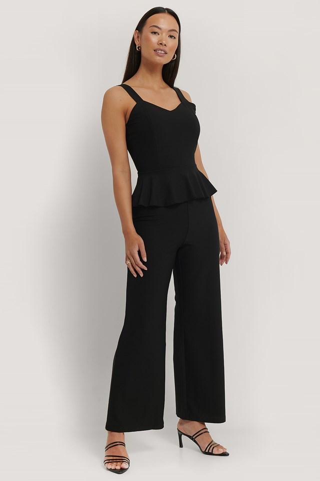 Frill Waist Jumpsuit Black