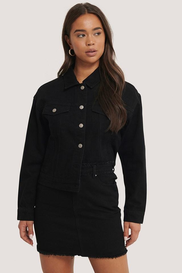 Fringed Denim Mini Skirt Black