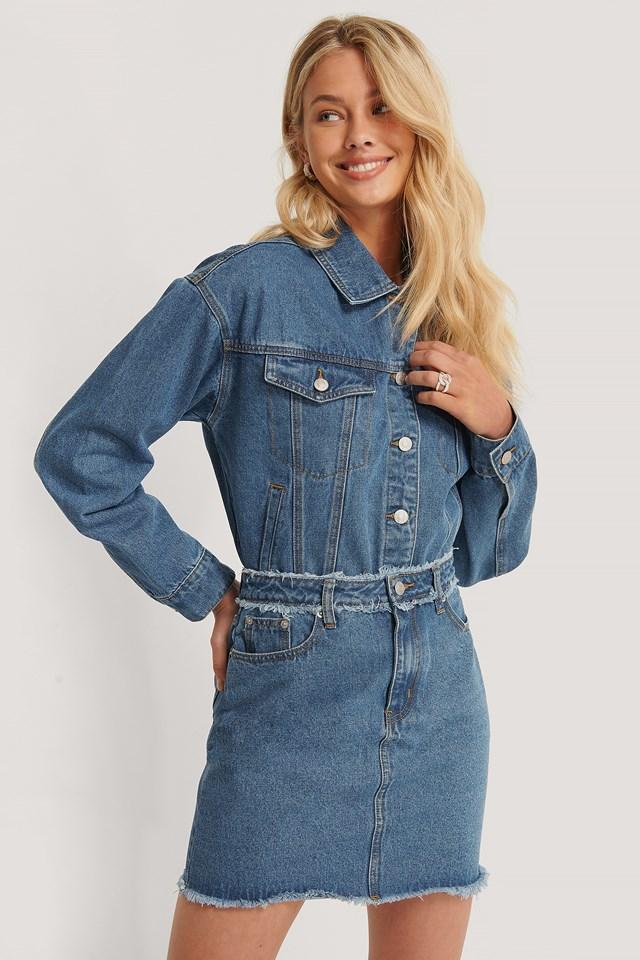 Fringed Denim Mini Skirt Mid Blue