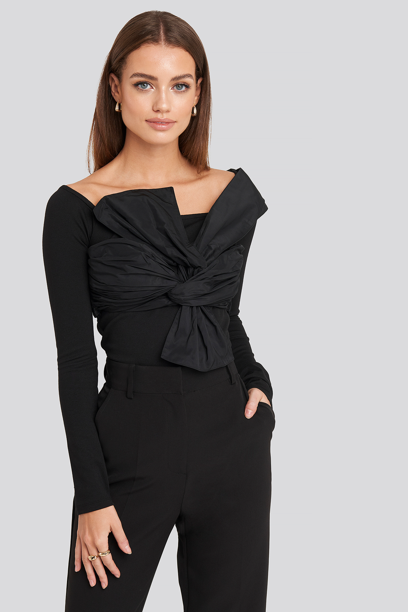 Black Front Bow One Shoulder Top