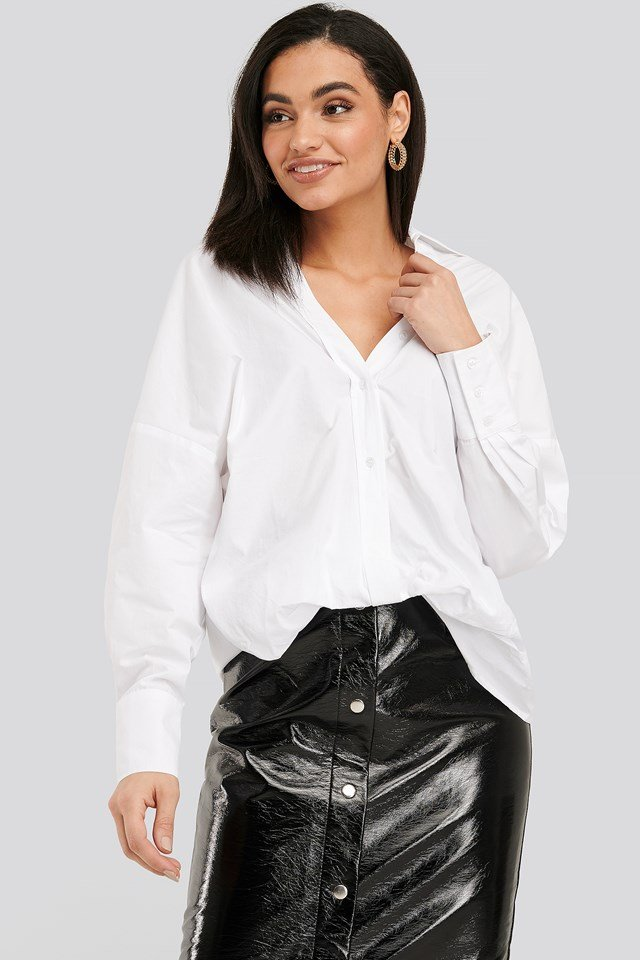 Optical White Front Knot Shirt